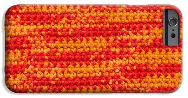 Red Abstract Tapestries - Textiles iPhone Cases - Crochet with variegated yarn iPhone Case by Kerstin Ivarsson