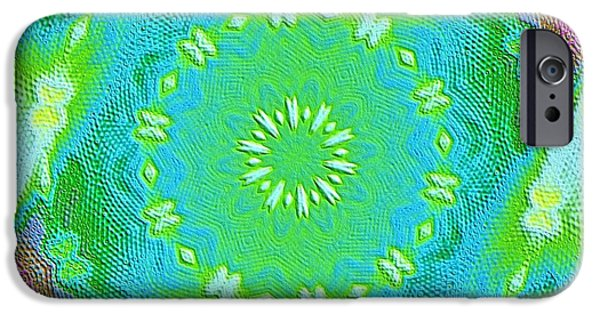 Green Posters Digital iPhone Cases - Crocheted by Grandma iPhone Case by Marsha Heiken