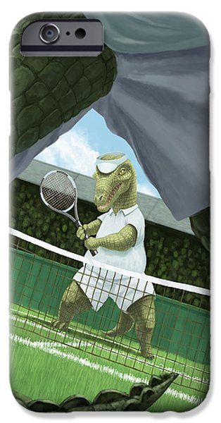 Kids Sports Art iPhone Cases - Crocodiles Playing Tennis At Wimbledon  iPhone Case by Martin Davey