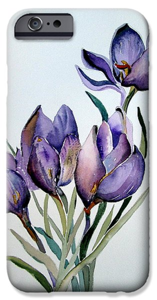 Flora Drawings iPhone Cases - Crocus in April iPhone Case by Mindy Newman