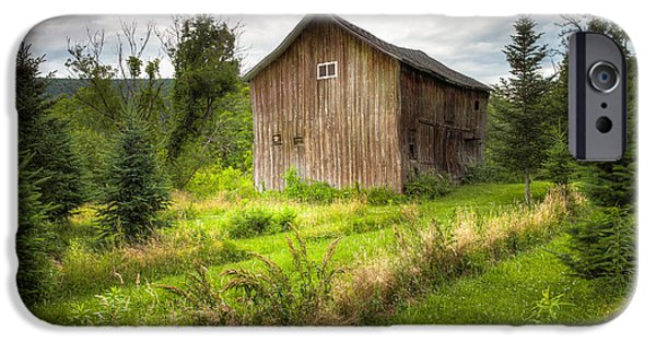 Old Barns iPhone Cases - Crooked Old Barn on South 21 - Finger Lakes New York State iPhone Case by Gary Heller