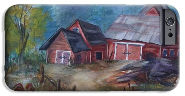 Shed iPhone Cases - Crooked Red Barn iPhone Case by Ellen Levinson