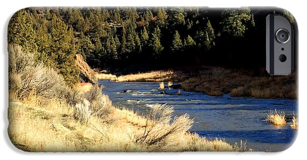 Deschutes River iPhone Cases - Crooked River December Morning iPhone Case by Nancy Merkle