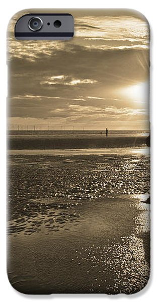 Crosby Beach Sepia Sunset iPhone Case by Paul Madden