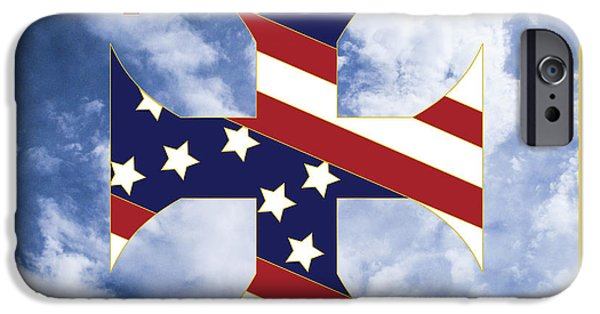 Constitution iPhone Cases - Cross and Flag One Nation Under God iPhone Case by Signo Vinces Design
