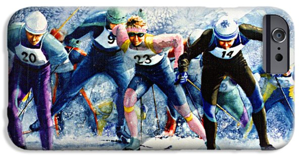 Skiing Action Paintings iPhone Cases - Cross-Country Challenge iPhone Case by Hanne Lore Koehler