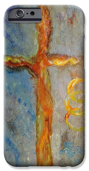 Religious Drawings iPhone Cases - Cross of Endless Love iPhone Case by Ella Kaye Dickey