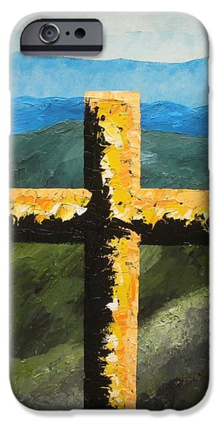 Smokey Mountains Paintings iPhone Cases - Cross Of The Mountain Ridges iPhone Case by Ralph Loffredo