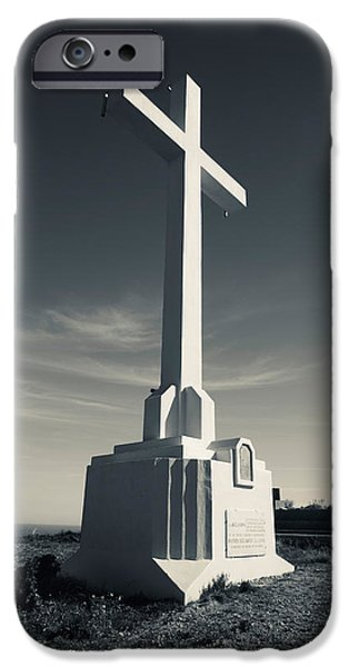Languedoc iPhone Cases - Cross On Mont St-clair, Sete, Herault iPhone Case by Panoramic Images