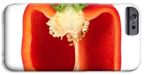 Tasty Photographs iPhone Cases - Cross section pepper iPhone Case by Johan Swanepoel