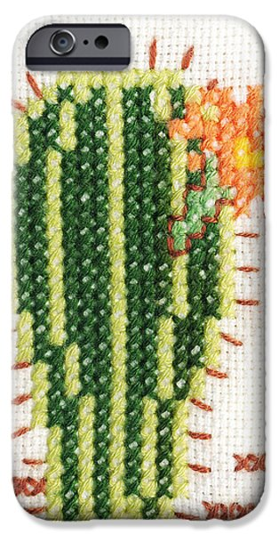 Plant Tapestries - Textiles iPhone Cases - Cross-stitch embroidery of cactus with flower iPhone Case by Kerstin Ivarsson