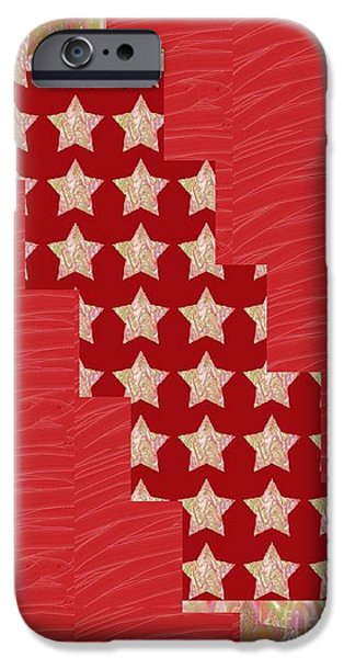 Diy iPhone Cases - CROSS through sparkle STARS on Red Silken base iPhone Case by Navin Joshi