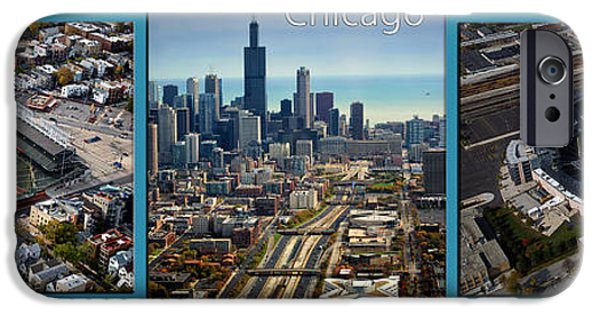 Wrigley Field Digital iPhone Cases - Cross Town Rivals In Chicago 3 Panel iPhone Case by Thomas Woolworth
