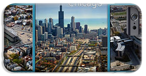 Wrigley Field iPhone Cases - Cross Town Rivals In Chicago 5 Panel iPhone Case by Thomas Woolworth