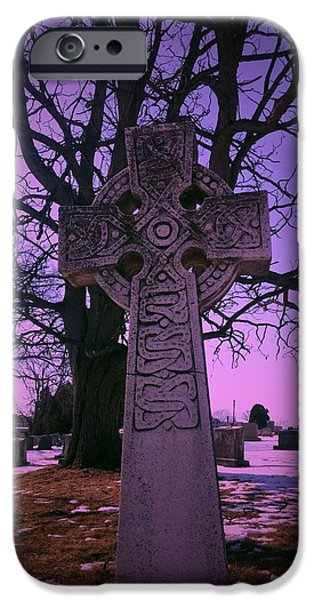Cemetary iPhone Cases - Cross Under Purple Sky iPhone Case by Michael  Ard