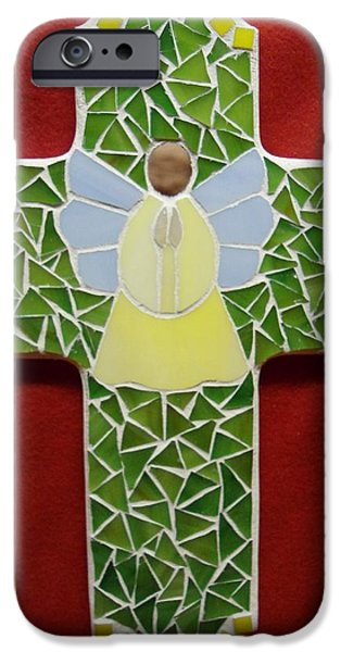 Angel Glass Art iPhone Cases - Cross with Angel iPhone Case by Fabiola Rodriguez
