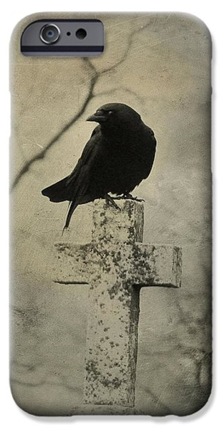Crows iPhone Cases - Cross With Crow iPhone Case by Gothicolors Donna Snyder