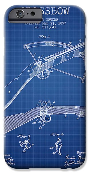 Weapon iPhone Cases - Crossbow Patent From 1897 - Blueprint iPhone Case by Aged Pixel