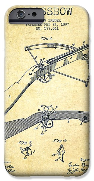 Weapon iPhone Cases - Crossbow Patent From 1897 - Vintage iPhone Case by Aged Pixel