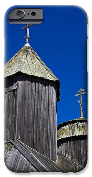 Jason O. Watson iPhone Cases - Crosses On Top Of Chapel at Fort Ross State Historic Park iPhone Case by Jason O Watson