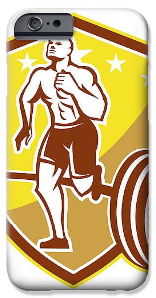 Crossfit Athlete Runner Barbell Shield Retro iPhone Case by Aloysius Patrimonio