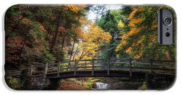 Buttermilk Falls iPhone Cases - Crossing Over iPhone Case by Mark Papke