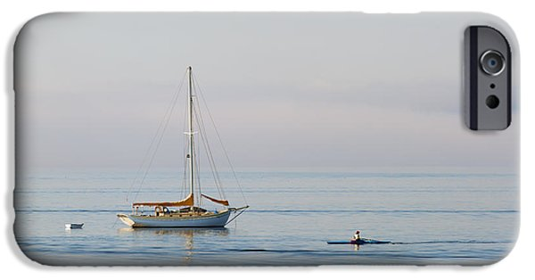 Sailboat Photographs iPhone Cases - Crossing Paths iPhone Case by Mike  Dawson
