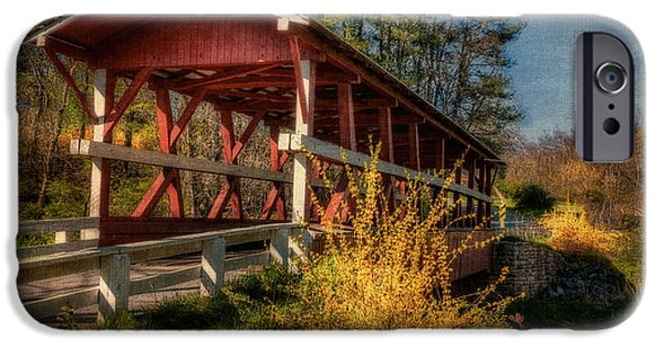 Covered Bridge iPhone Cases - Crossing Shawnee Creek iPhone Case by Lois Bryan
