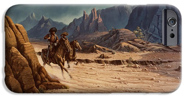 Michael Paintings iPhone Cases - Crossing The Border iPhone Case by Michael Humphries