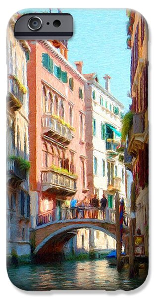Venetian Balcony iPhone Cases - Crossing the Canal iPhone Case by Jeff Kolker