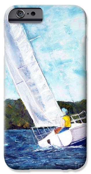 Sailboats Pastels iPhone Cases - Crossing the Finish Line iPhone Case by Shelley Koopmann