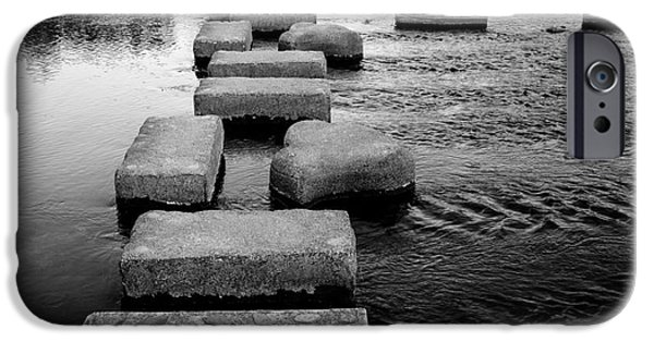 Stone Steps iPhone Cases - Crossing the Kamo River iPhone Case by Dean Harte