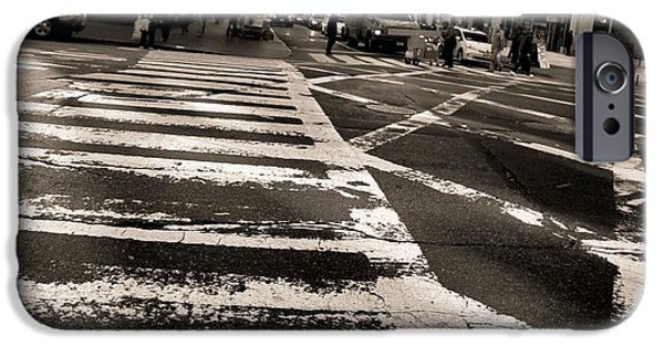 Crosswalk iPhone Cases - Crosswalk In New York City iPhone Case by Dan Sproul