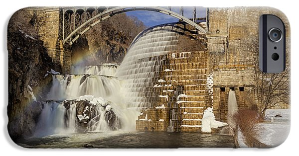Wintertime iPhone Cases - Croton Dam And Rainbow iPhone Case by Susan Candelario
