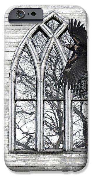 Judy Wood Digital Art iPhone Cases - Crow Church iPhone Case by Judy Wood