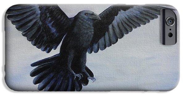 Crow Medicine iPhone Cases - Crow Flight iPhone Case by Xochi Hughes Madera