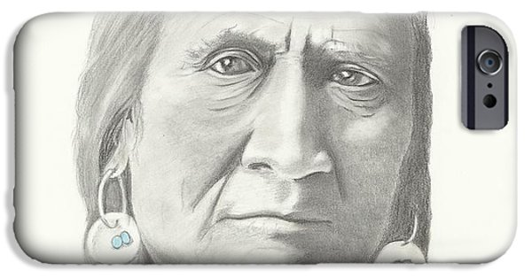 Graphite Drawing Pastels iPhone Cases - Crow Indian Chief iPhone Case by Linda Taylor