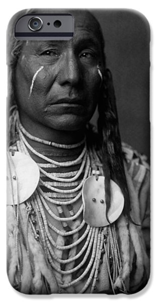 Braids iPhone Cases - Crow Indian Man circa 1908 iPhone Case by Aged Pixel