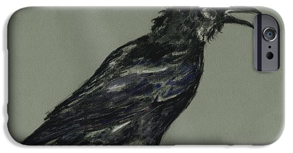 Crows Paintings iPhone Cases - Crow iPhone Case by Juan  Bosco