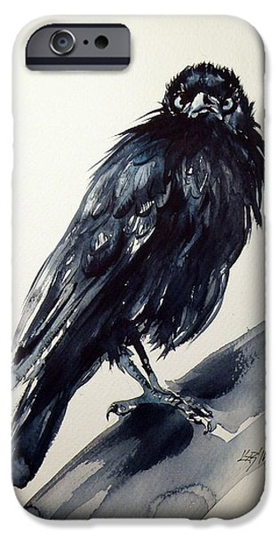 Crows Paintings iPhone Cases - Crow iPhone Case by Kovacs Anna Brigitta