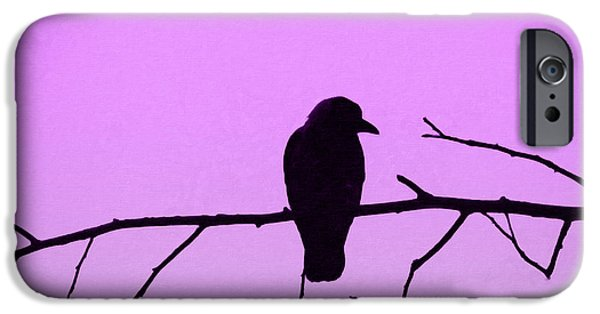 Eerie Mixed Media iPhone Cases - Crow on branch iPhone Case by Toppart Sweden