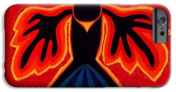 Native American Spirit Portrait iPhone Cases - Crow Rising original painting iPhone Case by Sol Luckman