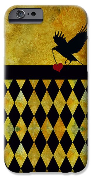 Crow iPhone Cases - Crow Stole My Heart on Golden Diamonds iPhone Case by Jenny Armitage