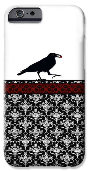 Crows iPhone Cases - Crow with Paisly iPhone Case by Jenny Armitage