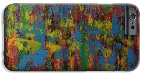 Abstract Expressionism Pastels iPhone Cases - Crowded Sidewalk In The Rain iPhone Case by Ame Jo Hughes