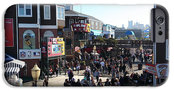 Sight Seeing San Francisco iPhone Cases - Crowds At Pier 39 San Francisco California 5D26127 iPhone Case by Wingsdomain Art and Photography