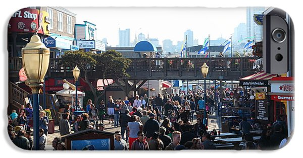 Sight Seeing San Francisco iPhone Cases - Crowds At Pier 39 San Francisco California 5D26134 iPhone Case by Wingsdomain Art and Photography