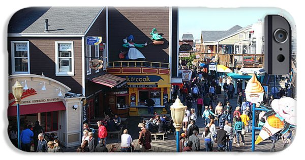 Sight Seeing San Francisco iPhone Cases - Crowds At Pier 39 San Francisco California 5D26135 iPhone Case by Wingsdomain Art and Photography