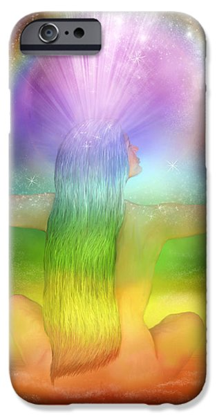 Crown Chakra Goddess iPhone Case by Carol Cavalaris
