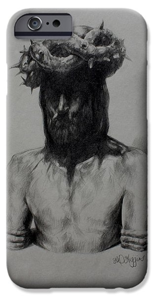The Passion Of Christ Drawings iPhone Cases - Crown Of Thorns iPhone Case by Derrick Higgins